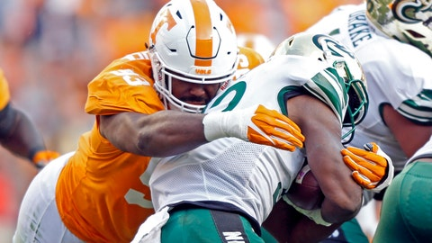 <p>               FILE - In this Nov. 3, 2018, file photo, Tennessee defensive lineman Emmit Gooden (93) tackles Charlotte running back Benny LeMay (32) during the first half of an NCAA college football game in Knoxville, Tenn. Gooden will miss the entire season with a knee injury, leaving the Volunteers without their most experienced player on a defensive line that has no returning starters. Vols coach Jeremy Pruitt says Gooden tore his anterior cruciate ligament Tuesday, Aug. 6, and will undergo surgery next week. (AP Photo/Wade Payne, File)             </p>