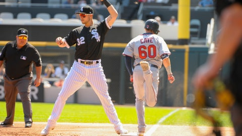 <p>               Chicago White Sox first baseman Matt Skole (32) makes the catch to finish a double play on Minnesota Twins' Jake Cave (60) during the first inning of a baseball game Thursday, Aug. 29, 2019, in Chicago. (AP Photo/Mark Black)             </p>