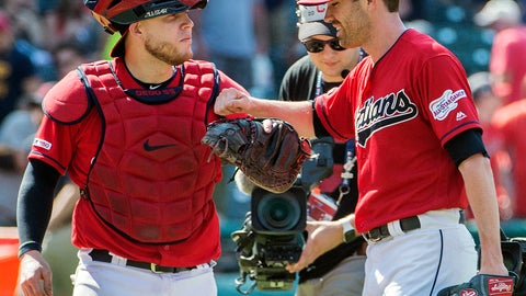 <p>               Cleveland Indians' Roberto Perez, left, and starter Shane Bieber celebrate their win over the Los Angeles Angels in a baseball game in Cleveland, Sunday, Aug. 4, 2019. (AP Photo/Phil Long)             </p>