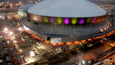 <p>               FILE - In this Jan. 7, 2008, file photo, color lights play on the Louisiana Superdome at twilight before the BCS championship college football game in New Orleans.  The home to the Saints football team, will get $450 million in renovations if Louisiana officials agree to the financing plans. Upgrades to the iconic, 44-year-old domed stadium are part of Gov. John Bel Edwards' ongoing negotiations with the NFL team, aimed at keeping the organization in Louisiana for another 30 years.  (AP Photo/Rob Carr, File)             </p>