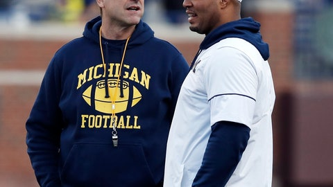 <p>               FILE-  In this April 13, 2019, file photo Michigan head coach Jim Harbaugh, left, and offensive coordinator Josh Gattis talk during the team's annual spring NCAA college football game in Ann Arbor, Mich. Harbaugh seems to be set up for success at Michigan in his fifth season, leading a program that is a popular choice to win the Big Ten. (AP Photo/Carlos Osorio, File)             </p>