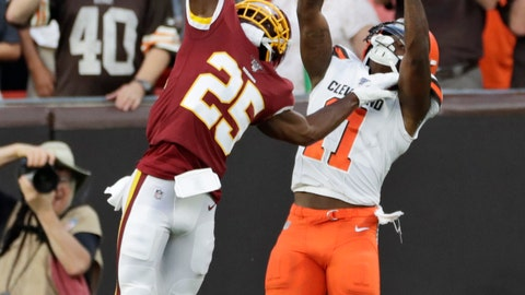 <p>               FILE - In this Aug. 8, 2019, file photo, Washington Redskins cornerback Jimmy Moreland (25) breaks up a pass intended for Cleveland Browns wide receiver Antonio Callaway (11) during the first half of an NFL preseason football game in Cleveland. He's one of the smallest players in camp with the Redskins, but cornerback Jimmy Moreland will arrive at the team's practice facility in Ashburn on Tuesday, Aug. 13, having had one of the biggest impacts on the team so far this preseason. (AP Photo/Ron Schwane, File)             </p>