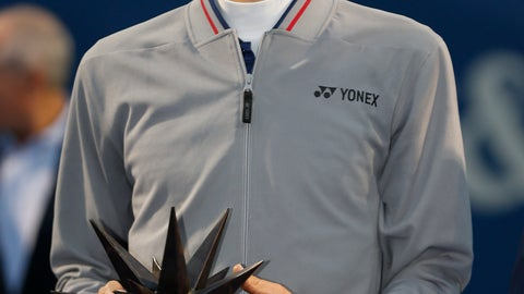 <p>               Hubert Hurkacz, of Poland, holds his trophy after winning the Winston-Salem Open tennis tournament over Benoit Paire, of France, in Winston-Salem, N.C., Saturday, Aug. 24, 2019. (AP Photo/Nell Redmond)             </p>