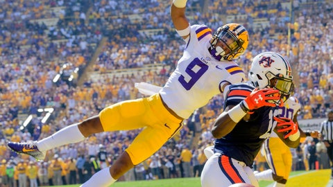 <p>               FILE - In this Oct. 14, 2017, file photo, LSU safety Grant Delpit (9) prevents Auburn wide receiver Eli Stove (12) from scoring a touchdown in the first half of an NCAA college football game in Baton Rouge, La. Delpit was an AP All-American last season and starts this season as a preseason All-American selected by poll voters. (AP Photo/Matthew Hinton, File)             </p>