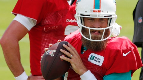 <p>               Miami Dolphins quarterback Ryan Fitzpatrick, foreground, runs a drill as quarterback Josh Rosen looks on during practice at the NFL football team's training camp, Monday, Aug. 19, 2019, in Davie, Fla. Fitzpatrick is expected to start the Miami Dolphins' exhibition game this week, which suggests he's still the front-runner in his battle with Rosen for the starting job. (AP Photo/Wilfredo Lee)             </p>