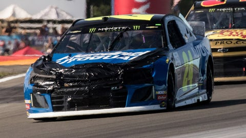 WATKINS GLEN, NY - AUGUST 04: Hendrick Motorsports driver William Byron #24 with heavy damage during the Monster Energy NASCAR Cup Series, GoBowling at The Glen on August 04, 2019, at Watkins Glen International in Watkins Glen, NY. (Photo by David Hahn/Icon Sportswire via Getty Images)