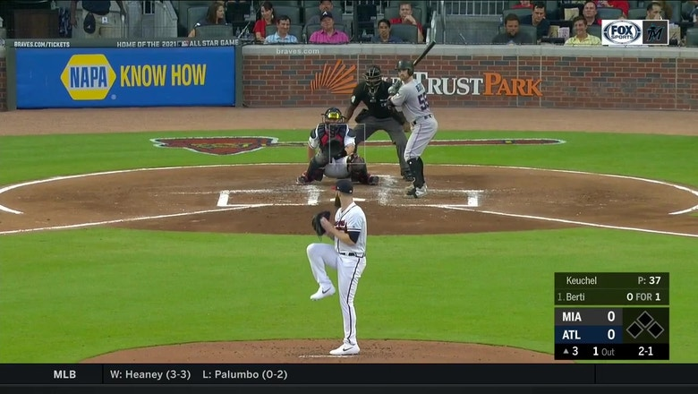 WATCH: Jon Berti's opposite field home run not enough in loss to Braves