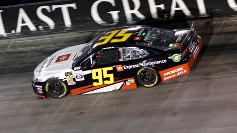 BRISTOL, TN - AUGUST 17: Matt DiBenedetto, Leavine Family Racing, Toyota Camry Toyota Express Maintenance (95) during the running of the 59th annual Bass Pro Shops NRA Night Race on August 17, 2019 at Bristol Motor Speedway in Bristol, TN. (Photo by Jeff Robinson/Icon Sportswire via Getty Images)