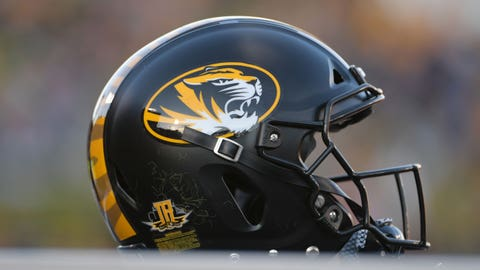 Oct 27, 2018; Columbia, MO, USA; A general view of a Missouri Tigers helmet during the game against the Kentucky Wildcats at Memorial Stadium/Faurot Field. Kentucky won 15-14. Mandatory Credit: Denny Medley-USA TODAY Sports