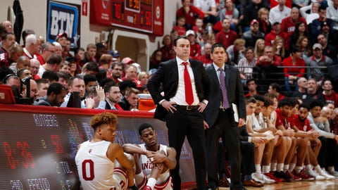 Mar 10, 2019; Bloomington, IN, USA; Indiana Hoosiers coach Archie Miller looks on from the sidelines during the second half against the Rutgers Scarlet Knights at Assembly Hall. Mandatory Credit: Brian Spurlock-USA TODAY Sports
