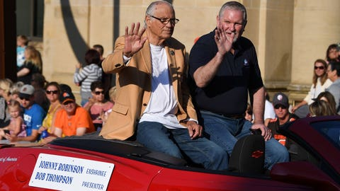 Johnny Robinson and presenter Bob Thompson in Hall of Fame Grand Parade