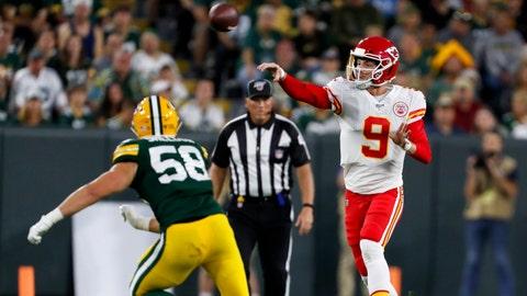 Kansas City Chiefs' Kyle Shurmur throws past Green Bay Packers' Brady Sheldon during the first half of a preseason NFL football game Thursday, Aug. 29, 2019, in Green Bay, Wis. (AP Photo/Matt Ludtke)