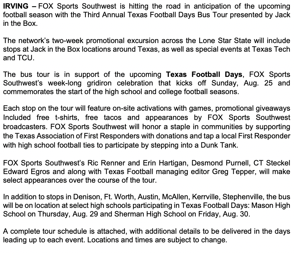 Texas Football Days Bus Tour Presented by Jack in the Box