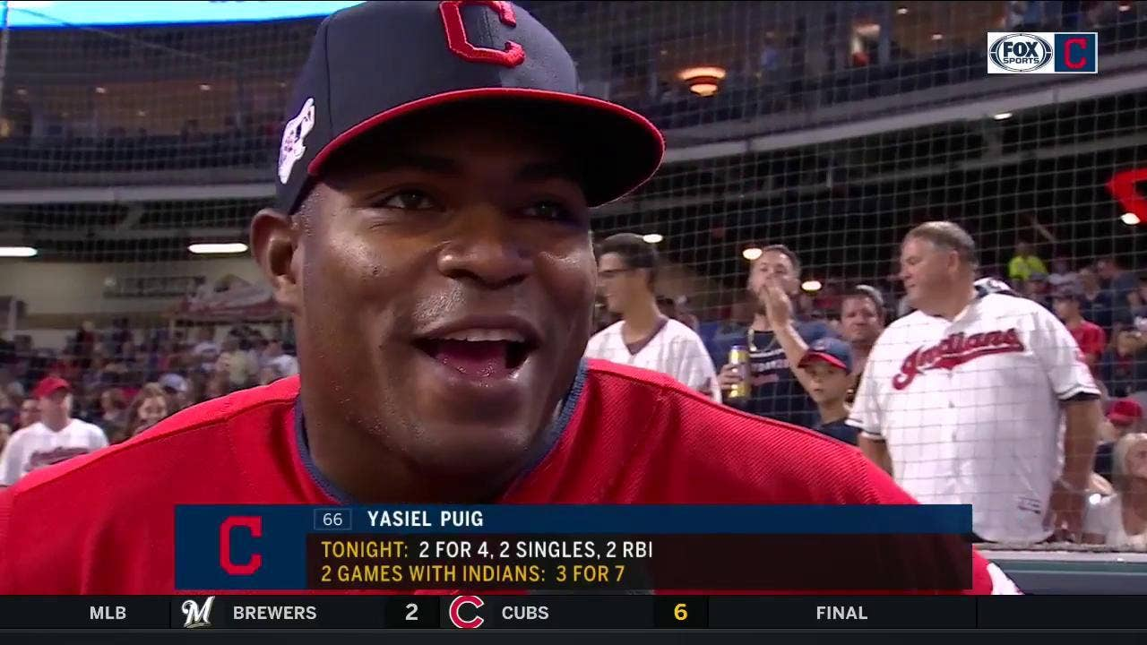 Yasiel Puig foresees exciting times, Cleveland's lineup doing damage