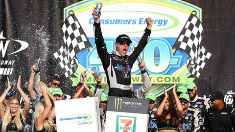 BROOKLYN, MI - AUGUST 11:  Kevin Harvick (4), driver of the Mobil 1 Ford, celebrates winning the Monster Energy NASCAR Cup Series - Consumers Energy 400 race on August 11, 2019 at Michigan International Speedway in Brooklyn, Michigan.  (Photo by Scott W. Grau/Icon Sportswire via Getty Images)