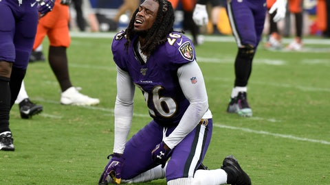 <p>               Baltimore Ravens cornerback Maurice Canady (26) reacts after failing to tackle Cleveland Browns running back Nick Chubb on a touchdown run during the second half of an NFL football game Sunday, Sept. 29, 2019, in Baltimore. (AP Photo/Brien Aho)             </p>