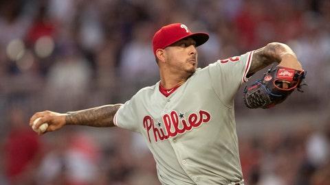 <p>               Philadelphia Phillies starting pitcher Vince Velasquez throws during the first inning of the team's baseball game against the Atlanta Braves on Tuesday, Sept. 17, 2019, in Atlanta. (AP Photo/John Bazemore)             </p>