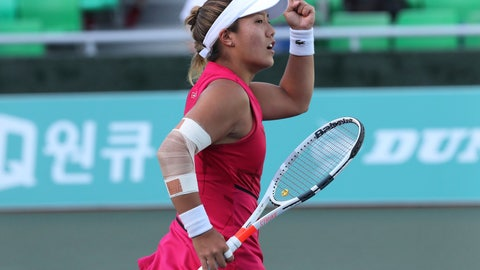 <p>               Kristie Ahn of the United States reacts after winning a point against Ana Bogdan of Romania during their second round match of the Korea Open tennis championships in Seoul, South Korea, Wednesday, Sept. 18, 2019. (AP Photo/Ahn Young-joon)             </p>