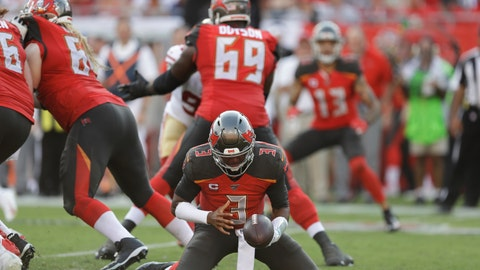 <p>               Tampa Bay Buccaneers quarterback Jameis Winston (3) tries to keep a loose ball against the San Francisco 49ers during the second half an NFL football game, Sunday, Sept. 8, 2019, in Tampa, Fla. (AP Photo/Chris O'Meara)             </p>