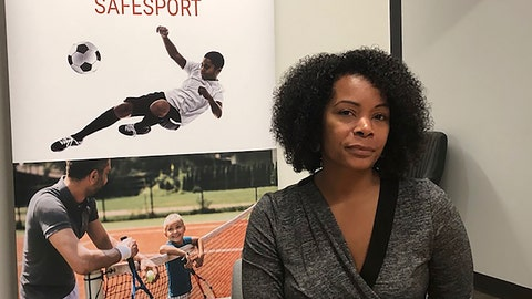 <p>               Ju'Riese Colon, the CEO for the U.S. Center for SafeSport, talks about the challenges facing her organization at their headquarters in Denver, Monday, Sept. 16, 2019. The center is receiving 55 percent more sex-abuse reports this year than in 2018, leading to a debate over whether the Olympic movement or federal government should shoulder the increasing cost of keeping athletes safe. (AP Photo/Eddie Pells)             </p>