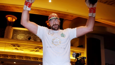 <p>               Tyson Fury attends an open workout Tuesday, Sept. 10, 2019, in Las Vegas. Fury is scheduled to face Otto Wallin in a heavyweight boxing match Saturday. (AP Photo/Isaac Brekken)             </p>