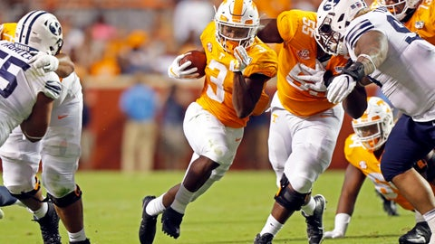 <p>               Tennessee running back Eric Gray (3) breaks free as he runs for yardage in the first half of an NCAA college football game against Brigham Young Saturday, Sept. 7, 2019, in Knoxville, Tenn. (AP Photo/Wade Payne)             </p>