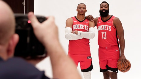 <p>               Houston Rockets' Russell Westbrook and James Harden, right, are photographed together during NBA basketball media day Friday, Sept. 27, 2019, in Houston. (AP Photo/Michael Wyke)             </p>