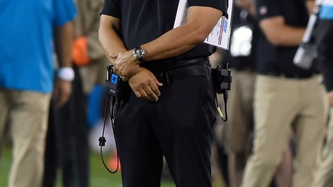 <p>               Carolina Panthers head coach Ron Rivera watches during the first half of an NFL football game against the Tampa Bay Buccaneers in Charlotte, N.C., Thursday, Sept. 12, 2019. (AP Photo/Mike McCarn)             </p>