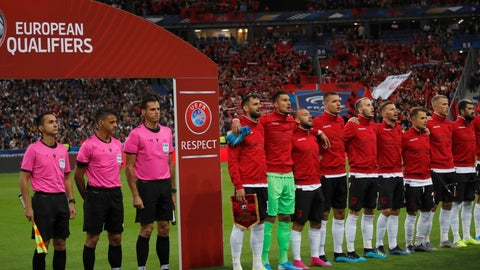 <p>               Referees and Albania's soccer team stand during Albania's national anthem, after the wrong one was playing, during of the Euro 2020 group H qualifying soccer match between France and Albania at the Stade de France in Saint Denis, north of Paris, France, Saturday, Sept. 7, 2019. (AP Photo/Christophe Ena)             </p>
