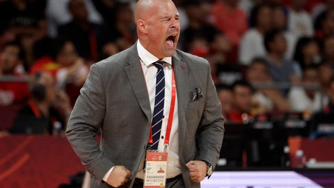 <p>               Poland's head coach Mike Taylor calls out instructions to his team during their group phase basketball game against China in the FIBA Basketball World Cup at the Cadillac Arena in Beijing, Monday, Sept. 2, 2019. (AP Photo/Mark Schiefelbein)             </p>