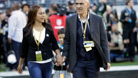 "<p>               FILE - In this Feb. 7, 2016, file photo, former NFL football player and head coach Tony Dungy, right, walks with his wife Lauren Harris Dungy before the NFL Super Bowl 50 football game between the Denver Broncos and the Carolina Panthers in Santa Clara, Calif. The Pro Football Hall of Famer and his wife recently penned their fourth book in a children's series. The new one is titled ""Carson Chooses Forgiveness,"" and it follows ""We Chose You,"" which focuses on adoption; ""Maria Finds Courage,"" and ""Austin Plays Fair."" (AP Photo/Marcio Jose Sanchez, File)             </p>"