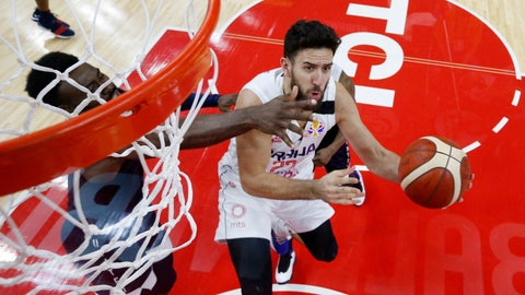 <p>               Serbia's Vasilije Micic in action during the FIBA Basketball World Cup match between Serbia and the United States at the Dongguan Basketball Center, Dongguan, China, Thursday, Sept. 12, 2019 (Kim Kyung-Hoon/Pool Photo via AP)             </p>