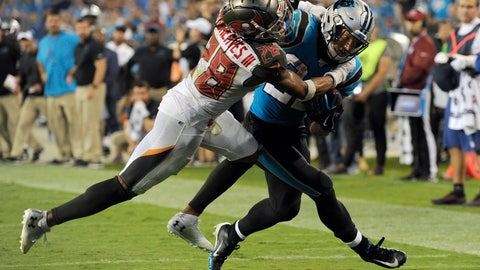 <p>               Tampa Bay Buccaneers cornerback Vernon III Hargreaves (28) tackles Carolina Panthers running back Christian McCaffrey late in the second half of an NFL football game in Charlotte, N.C., Friday, Sept. 13, 2019. Tampa Bay won 20-14. (AP Photo/Mike McCarn)             </p>