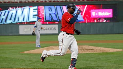 <p>               Minnesota Twins' Miguel Sano jogs home on a solo home run off Kansas City Royals pitcher Mike Montgomery, background, during the third inning of a baseball game Thursday, Sept. 19, 2019, in Minneapolis. (AP Photo/Jim Mone)             </p>