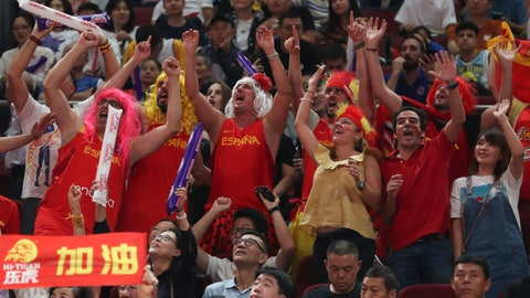 <p>               Spanish fans cheers during their FIBA Basketball World Cup Finalmatch against Argentina, at the Cadillac Arena in Beijing, Sunday, Sept. 15, 2019. (AP Photo/Ng Han Guan)             </p>