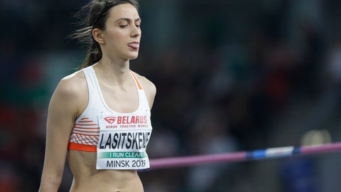 <p>               Mariya Lasitskene sticks her tongue out after a successful attempts in the women's high jump final during the Match Europe against USA athletics competition on the Dinamo stadium in Minsk, Belarus, Tuesday, Sept. 10, 2019. (AP Photo/Sergei Grits)             </p>