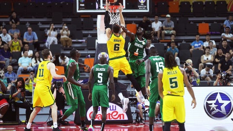 <p>               Australia's Andrew Bogut attempts a shot during a group H match against Senegal in the FIBA Basketball World Cup 2019 in Dongguan in south China's Guangdong province on Tuesday, Sept. 3, 2019. (AP Photo)             </p>