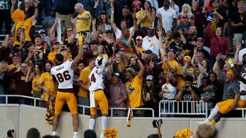 <p>               Arizona State players celebrate with fans following an NCAA college football game against Michigan State, Saturday, Sept. 14, 2019, in East Lansing, Mich. (AP Photo/Al Goldis)             </p>