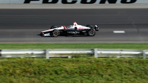 <p>               Josef Newgarden drives into Turn 1 during an IndyCar Series auto race at Pocono Raceway, Sunday, Aug. 18, 2019, in Long Pond, Pa. (AP Photo/Matt Slocum)             </p>