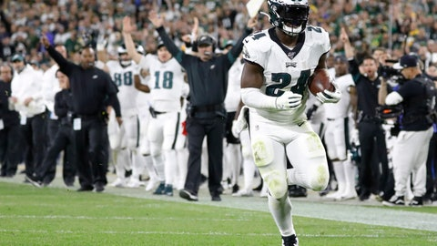 <p>               Philadelphia Eagles running back Jordan Howard runs for a touchdown after making a catch during the second half of the team's NFL football game against the Green Bay Packers on Thursday, Sept. 26, 2019, in Green Bay, Wis. (AP Photo/Jeffrey Phelps)             </p>