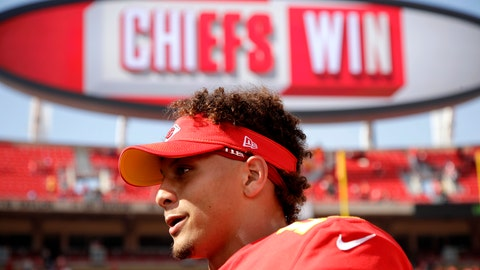 <p>               Kansas City Chiefs quarterback Patrick Mahomes walks off the field after an NFL football game against the Baltimore Ravens Sunday, Sept. 22, 2019, in Kansas City, Mo. (AP Photo/Charlie Riedel)             </p>
