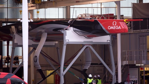 <p>               America's Cup holders Team New Zealand show their new boat, a 75-foot (22-meter) foiling monohull on the forecourt of their Auckland base in New Zealand, Thursday, Sept. 5, 2019. The boat will be officially unveiled tomorrow, Sept. 6, when the AC75 will be launched into the water. (Dean Purcell/New Zealand Herald via AP)             </p>