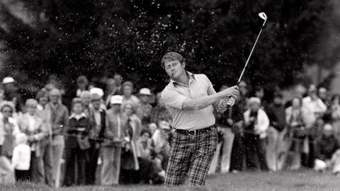 <p>               FILE - In this Sept. 21, 1975 file photo, Britain's Brian Barnes, pipe in mouth, follows through after blasting out of a sand trap during Ryder Cup match at Laurel Valley Golf Club, Ligonier, Pa. Barnes, the charismatic English golfer who beat Jack Nicklaus twice in one day in Ryder Cup singles matches, has died after a short illness. He was 74. The European Tour said Barnes, who had cancer, died on Monday, Sept. 9, 2019 with family members by his side. (AP Photo/RAD, file)             </p>