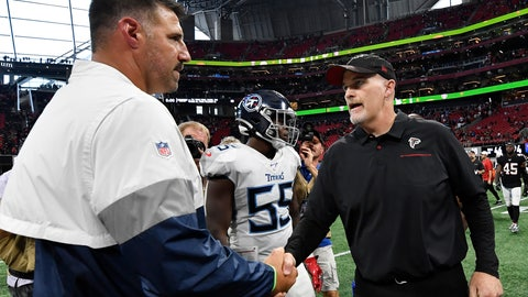 <p>               Atlanta Falcons head coach Dan Quinn, right, speaks with Tennessee Titans head coach Mike Vrabel after an NFL football game, Sunday, Sept. 29, 2019, in Atlanta. The Tennessee Titans won 24-10. (AP Photo/John Amis)             </p>