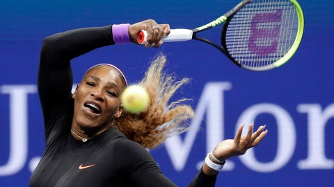 <p>               Serena Williams, of the United States, returns a shot to Qiang Wang, of China, during the quarterfinals of the U.S. Open tennis tournament Tuesday, Sept. 3, 2019, in New York. (AP Photo/Seth Wenig)             </p>