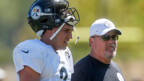 <p>               Pittsburgh Steelers quarterback Mason Rudolph (2), left, walks with offensive coordinator Randy Fichtner between drills during an NFL football practice, Wednesday, Sept. 18, 2019, in Pittsburgh. (AP Photo/Don Wright)             </p>