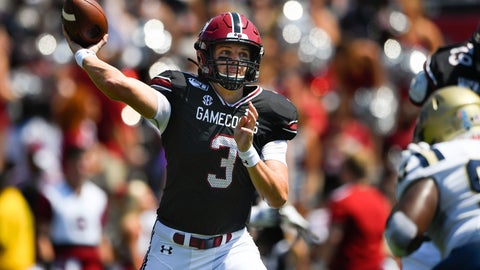 <p>               South Carolina quarterback Ryan Hilinski (3) drops back to pass as Charleston Southern defensive lineman Shaundre Mims defends, right, during the first half of an NCAA college football game Saturday, Sept. 7, 2019, in Columbia, S.C. (AP Photo/John Amis)             </p>