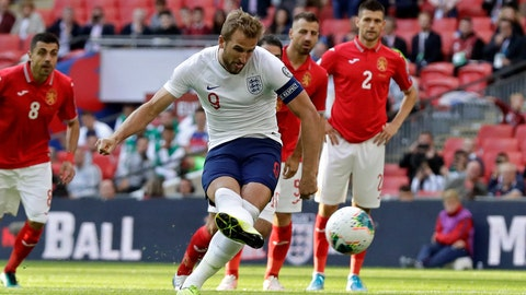 <p>               England's Harry Kane scores his side's second goal from the penalty spot during the Euro 2020 group A qualifying soccer match between England and Bulgaria at Wembley stadium in London, Saturday, Sept. 7, 2019. (AP Photo/Matt Dunham)             </p>