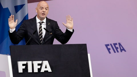 """<p>               FILE  - In this Wednesday, June 5, 2019 file photo FIFA President Gianni Infantino delivers his speech during the 69th FIFA congress in Paris. FIFA President Gianni Infantino said Sunday, Sept. 22, 2019 soccer's governing body has been """"assured"""" that Iran will lift its 40-year ban and allow women to attend a World Cup qualifying game next month.(AP Photo/Alessandra Tarantino, File)             </p>"""