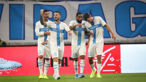 <p>               Marseille's Dario Benedetto gestures towards fans after scoring during the French League One soccer match between Marseille and Saint-Étienne at the Velodrome stadium in Marseille, southern France, Sunday, Sept. 1, 2019. (AP Photo/Daniel Cole)             </p>